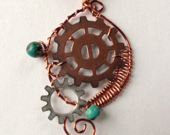Steampunk Wire Wrapped Pendant