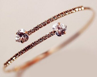 Delicate Gold Bangle Bracelet with Cubic Zirconia and Hearts, Elegant Gift