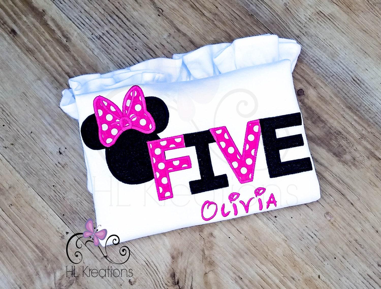 Minnie Mouse Birthday Shirt Girls 5th Birthday Shirt
