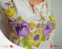 Purple and Yellow pansies boutique tunic, Floral white top, Hand painted pure silk blouse, Silk paints, Art supplies, Gift idea, Size S