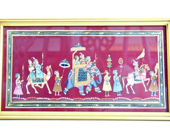 Silk Painting of Rajasthan Procession with Indian Maharaja on Elephant, Gold Frame, Original Art, Global World Boho Decor,