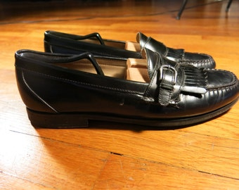 Bass Kiltie Monk Strap Black Leather Loafers Men's Size 11.5 Goodyear Welted 11 1/2 Vintage