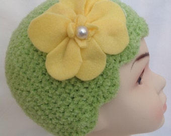 Hand Knit Toddler Hat, Hand Knit Girl's Hat, Girl's Knit Hat