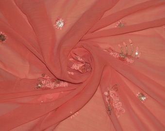 Vintage Salmon Georgette Dupatta Wrap Dress Embroidered Scarf Hijab Indian Recycled Fabric Decor Long Veil Stole Scarves SD2412