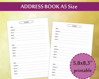 A5 Address book, Filofax Contacts Page, A5 Planner Printable Inserts,  Address Book Printable, Filofax Contact Book, Instant Download