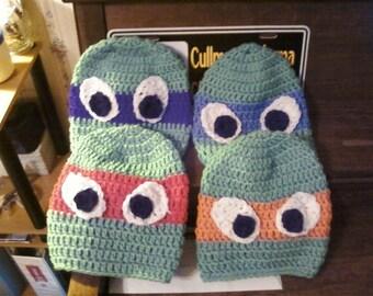 Crochet Ninja Turtle hats