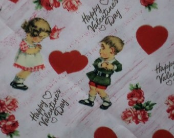 Valentines Fabric / David Textiles, inc./ Boy and Girl with Hearts / Sold by the Yard
