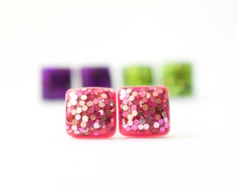 HOT PINK GLITTER Studs. Surgical Steel Posts
