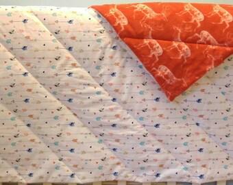 Cot Quilt, Boys Bedding, Baby Gift, Crib Quilt, Woodland Nursery, Deer, Arrows, Crib Bedding, Baby Boy, Tribal, Baby Bedding, Ready to Ship
