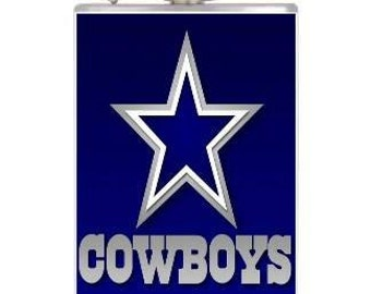 8oz Stainless Steel Wrapped Blue Cowboys Flask