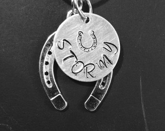 Customized hand stamped horseshoe necklace FREE SHIPPING