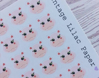 50 Cute Hippo Planner Stickers