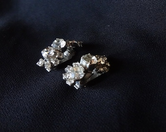 Rhinestone Clip On Earring Set from Mid Century