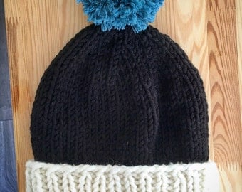 Chunky knitted hat, bobble hat, gift for her, gift for him, skiing hat, snowboarding hat, merino wool