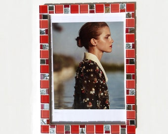8x12 frame - Mosaic wall photo frame - Red frame - Photo frame 8x12 - Picture frame 8x12 - Red frames - Red frame set - Mosaic art