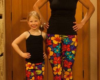 Mom Daughter Look Alike Spandex Leggings Shown in Neon Flowers