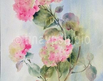 Hydrangea painting. Hydrangea watercolor. Hydrangea flower painting. August birthday flowers. Original hydrangea watercolor painting.