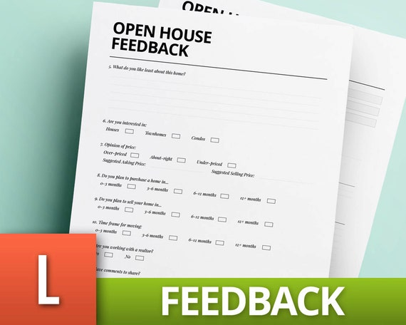 Open House Feedback Template   Real Estate Template   Realtor Sheet   Home  Buy   House Sell   Estate Agent List   Real Estate Planner  Feedback Document Template
