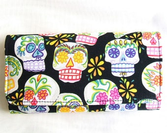 Mini Sugar Skulls black background cotton wallet, clutch, trifold, fabric from Alexander Henry