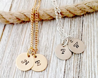Personalized, Initial Necklace, Silver, Gold, Monogram Necklace, Initial, Hand stamped