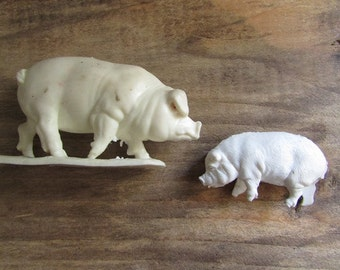 Two Tiny Pigs Vintage Plastic Piggies Farm Animals