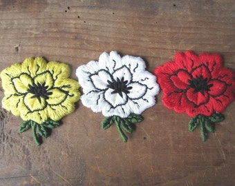 VIntage Flower Appliques Red Yellow and White