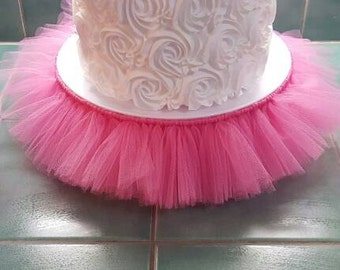 CAKE STAND TUTU Pink cupcake tulle skirt Decorations princess ballerina baby shower birthday party wedding bridal centerpiece quinceanera