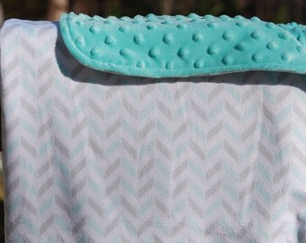 Baby Blanket- Gray, Aqua, and White Chevron Minky and Aqua Dimple Dot Minky
