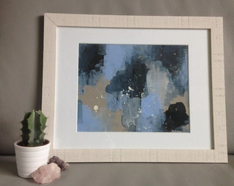 Original Abstract Artwork - Textural Study in Blue - A3 Framed