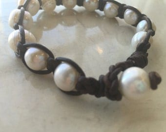Pearl and Leather Woven Bracelet
