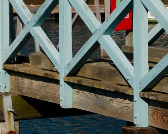Foot Bridge, New England Harbor, North Shore MA, Coastal Town, Fishing Boats, Photography, Home Decor, Wall Decoration, Canvas Picture/Photo