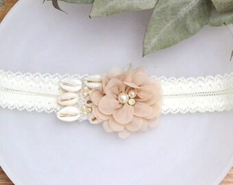 Garter bride-tropical-Naomi-Garter-bijoux of leg-garter garter shell, chestnut - Brown bridal garter