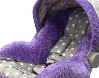 Polka Dots Infant Car Seat Cover Gray Purple