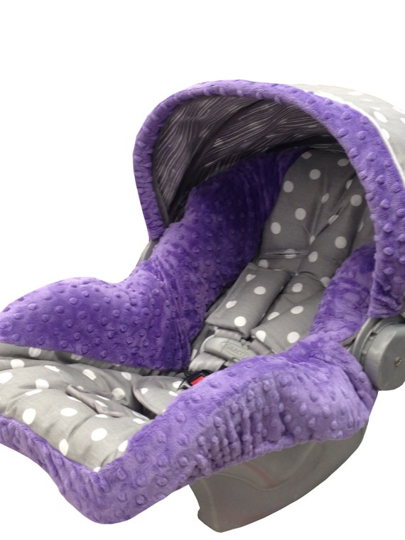 polka dots infant car seat cover gray purple. Black Bedroom Furniture Sets. Home Design Ideas