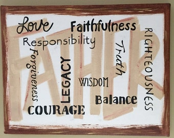 Father Canvas painting with Meaningful words (16x20, 11x14, 8x10)