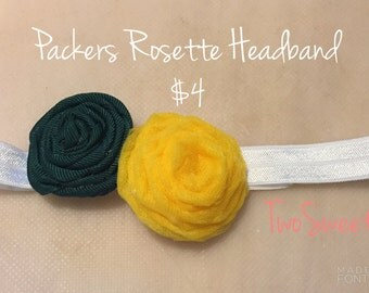 Green and Gold Rosette Headband