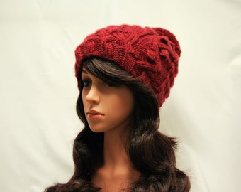 Maroon Winter Hat, Handmade Wool Hat
