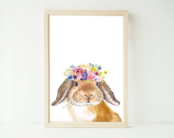 Watercolour floral easter bunny rabbit artwork print up to extra large A1