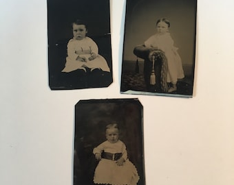 Tintype Three-Pack: Kids in Dresses, 19th Century Antique Photographs