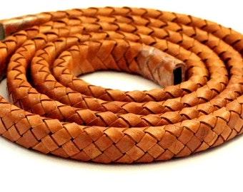 1 meter oval braided leather band 9 mm x 6 mm