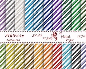 Stripe digital paper strips pattern scrapbooking Instant download strips background Personal and Commercial Use
