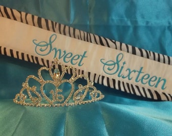 Sweet 16 Zebra Satin Trimmed Sash and Tiara