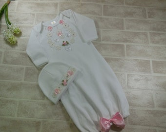 Newborn Take Home Outfit/White Layette Gown Cap /Baby Girl Gown White / Style  G-305 White