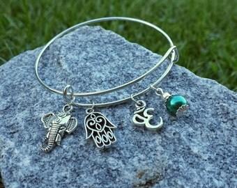 Hamsa Om Elephant Adjustable Charm Bracelet / Meditation Yoga Zen Jewelry