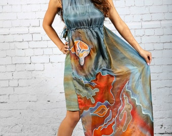 Maxi dress hand painted on silk ''BLUE SHAPES'' .