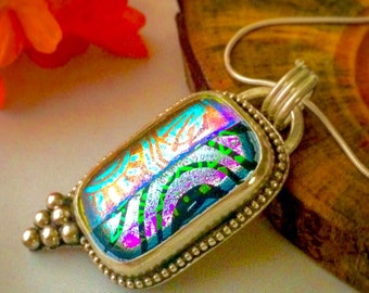 Geometric Sterling Silver Pendant w/ Fused Dichroic Glass & Sterling Silver Bead Accents