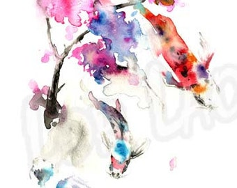 Japanese, Watercolor, Art, Painting, Koi, Fish