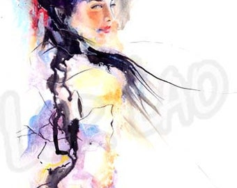 Japanese, Art, Watercolor, Painting, Geisha poster print