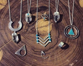 Sterling silver triangle necklace with turquoise
