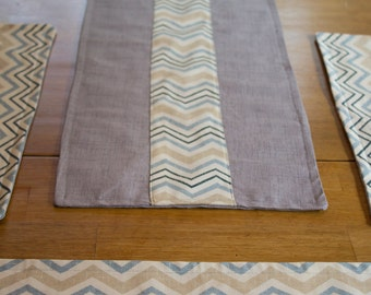 Reversible Gray and Chevron Table Runner